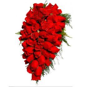 Buque de Noiva estilo Cascata (55 Rosas vermelhas)