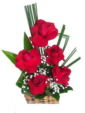 Tons de Amor (05 Rosas vermelhas em base Rústica)