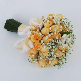 Buque de Noiva - 18 Rosas Laranja, astromelias e cetim