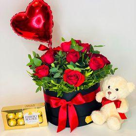 Box grande, chocolates e urso