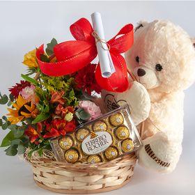 Cachepô Flores mistas + Urso + Ferrero Rocher