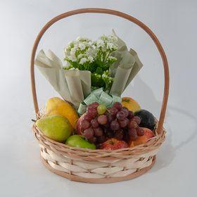 Cesta de frutas média com flor