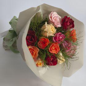 Buquê 14 rosas coloridas