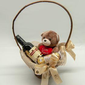 Cesta simples vinho e ursinho