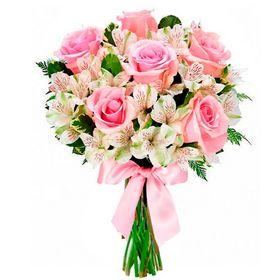 Buquê de Noiva Rosas e Astromelias