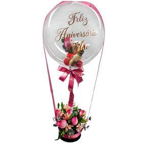 Balão Bubble com urso pequeno, 6 rosas e chocolate