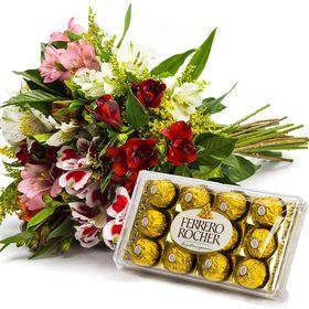 Buquê de astromélias e Ferrero Rocher