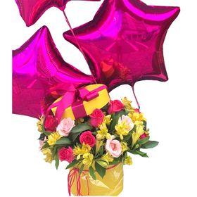 Box com Rosas e Balões