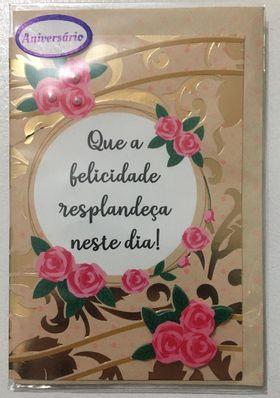 Cartão pequeno- Aniversário Dourado
