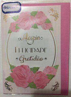 Cartão pequeno- Aniversário Rosado
