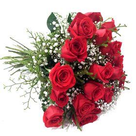 Buquê 18 Rosas Colombinas com Gyphofila