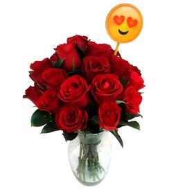 Arranjo 18 rosas em vaso de vidro com plaquinha