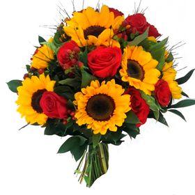 Buquê 8 Girassóis e 10 Rosas vermelhas