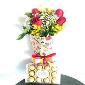 Buquê 4 rosas Ferrero