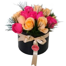 Arranjo de 20 Rosas - Champanhe com Rosas Pink