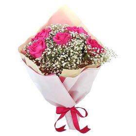 Buquê 8 Rosas cor de rosa