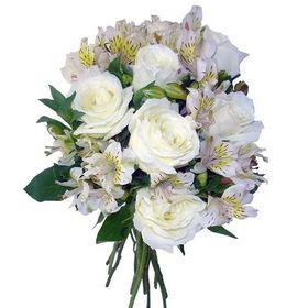 Buquê 06 rosas e 06 astromelias brancas