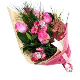 Ramalhete 3 Rosas e astromélias cor de rosa