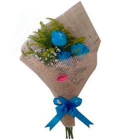 Ramalhete com 3 Rosas azuis