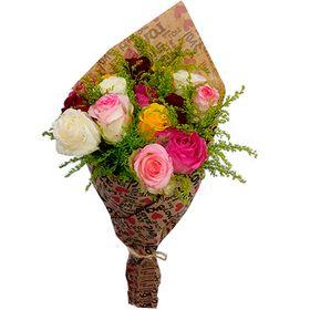 Buquê 15 Rosas Coloridas