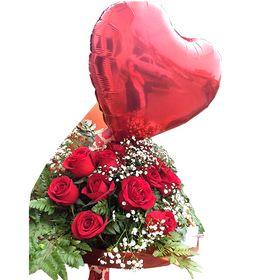 Buquê 12 Rosas + Balão Coração