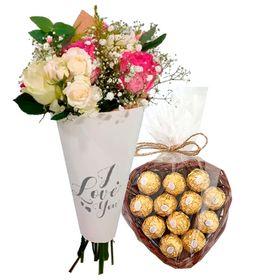 Cone I Love You rosas  2 cores + coração de bombons