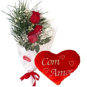 Ramalhete 03 Rosas e Pelúcia de Coração
