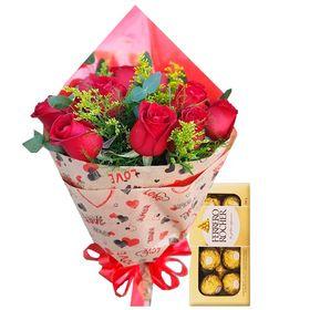Buque 12 rosas + Ferrero rocher