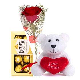 Rosa vermelha, Pelúcia e Chocolate