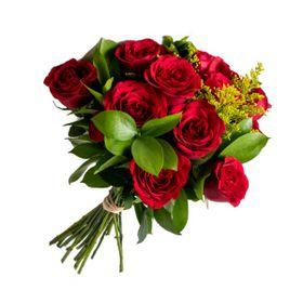 Buquê 12 Rosas com laço de Ráfia