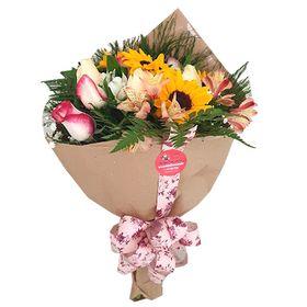 Buquê Misto girassóis, astromélias e rosas
