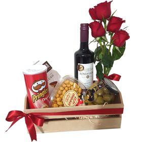 Caixa c/ Vinho, Rosas e Petiscos