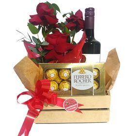 Kit de Rosas, Vinho e chocolate