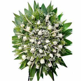 Coroa Luxo com Rosas Brancas