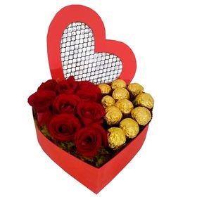 Coração com Rosas e Chocolates