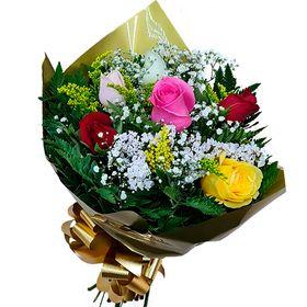 Buquê 6 rosas coloridas