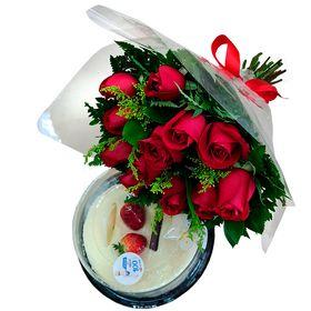 Buquê 12 Rosas + Bolo
