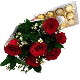 Buquê 6 Rosas Com Ferrero Rocher 12un.
