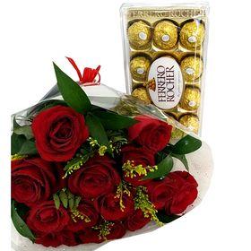 Buquê 12 Rosas vermelhas com Tango e Ferrero Rocher