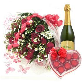 Buquê 12 Rosas Vermelhas, Frisante e chocolate