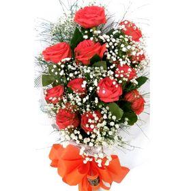 Buquê 12 Rosas laranja estilo europeu