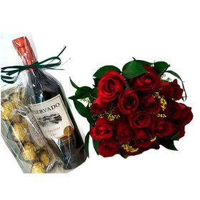 Buquê 24 Rosas, Vinho e Chocolate