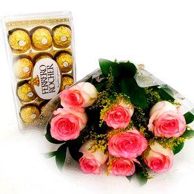 Buquê com 8 Rosas + Ferrero Rocher