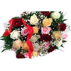 Buquê 24 rosas em 3 cores