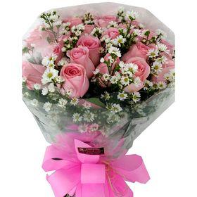 Buquê com 36 Rosas Cor de Rosa + Aster