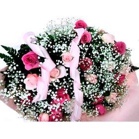 Buquê 24 Rosas em tons cor de rosa