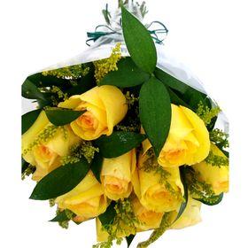 Buquê 12 Rosas Amarelas e Ruscus com Tango