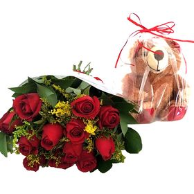 Buquê 12 Rosas vermelhas com Tango mais Pelúcia 35 cm