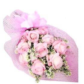 Buquê 12 Rosas cor Rosa Estilo Europeu