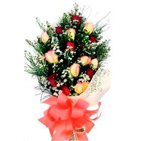 Buquê europeu 16 rosas (8 rosas vermelhas e 8 ambiance)